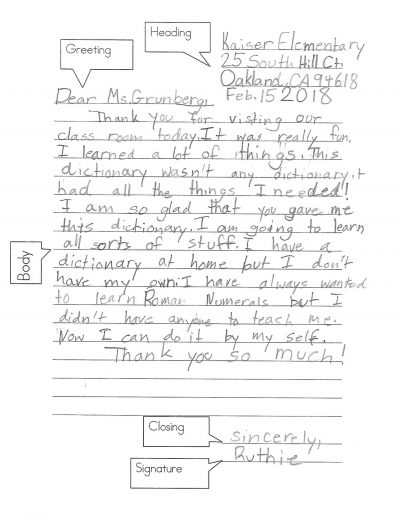 Dictionary Day Thank You Letters From Students 2